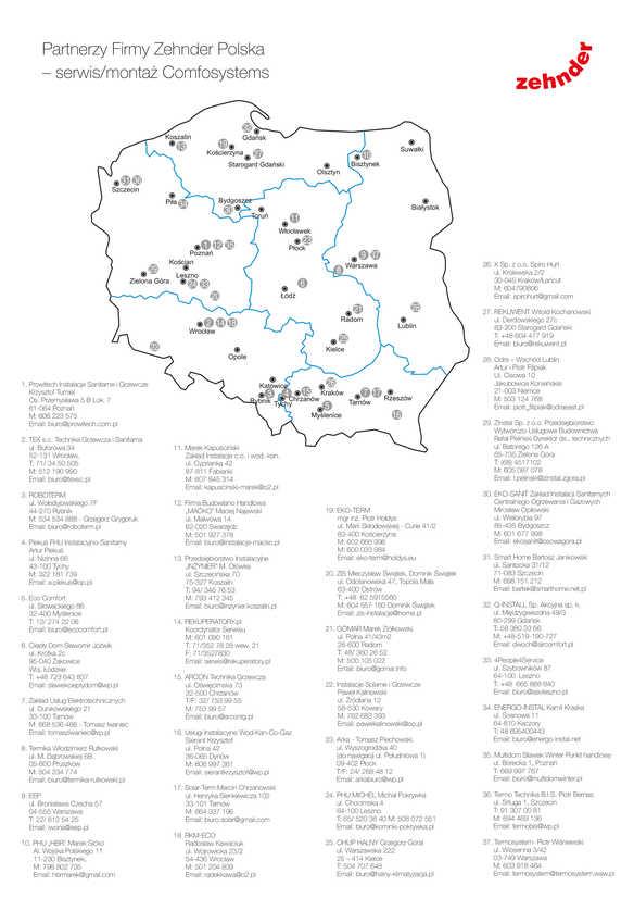 Punkty obsługi serwisowej Zehnder Polska