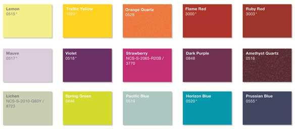 * Te kolory w palecie barw Zehnder wykonywane są w połysku, pozostałe w macie.
